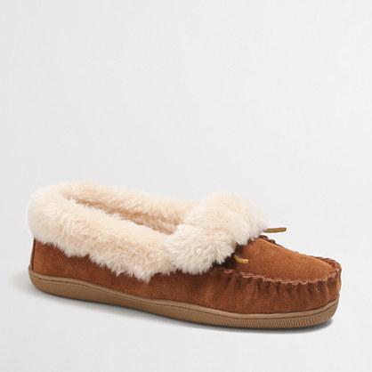 Shearling foldover fireside slippers