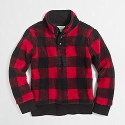 Boys' buffalo-check sherpa mockneck pullover