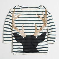 Girls' long-sleeve striped antlers keepsake T-shirt