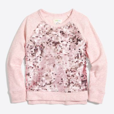 Girls' sequin-front popover sweasthirt