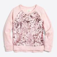 Girls' sequin-front popover sweasthirt