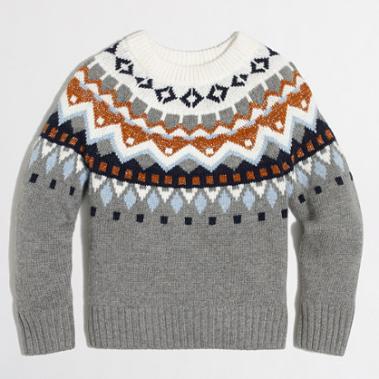 Girls' shimmery Fair Isle popover sweater