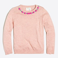 Girls' pom-pom necklace popover sweater