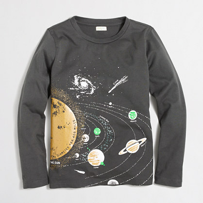 Boys' long-sleeve glow-in-the-dark solar system storybook T-shirt