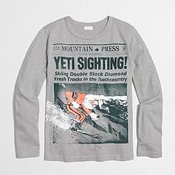 Boys' long-sleeve yeti sighting storybook T-shirt