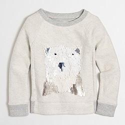 Girls' polar bear sequin sweatshirt