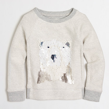 Girls' polar bear sequin sweatshirt