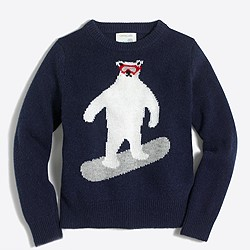 Boys' bear snowboarding intarsia sweater