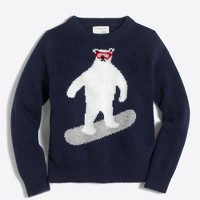 Boys' bear snowboarding intarsia sweater