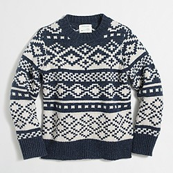 Boys' geometric Fair Isle crewneck sweater