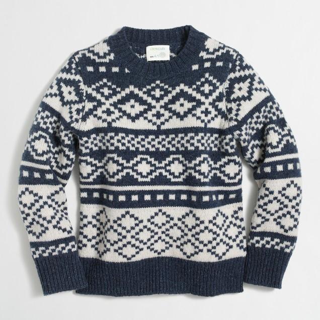 Boys' geometric Fair Isle crewneck sweater