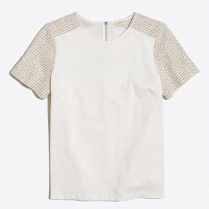 Tweed-sleeve T-shirt