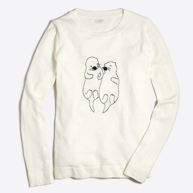 Embroidered otters Teddie sweater