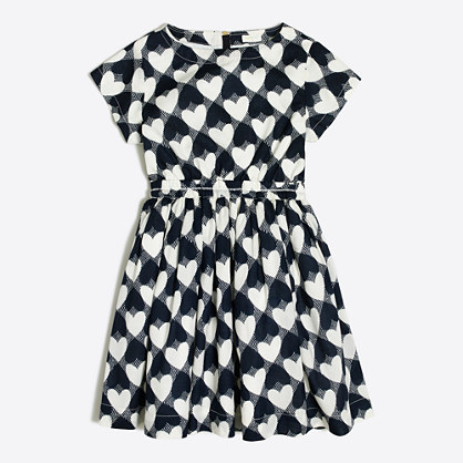 Girls' printed hearts pocket dress