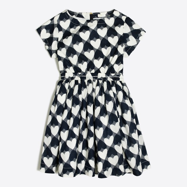 Girls' printed hearts pocket dress