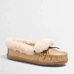 Metallic shearling foldover fireside slippers