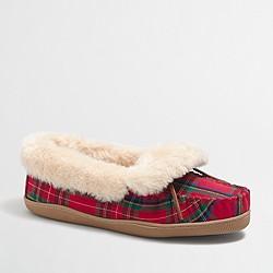Plaid shearling foldover fireside slippers