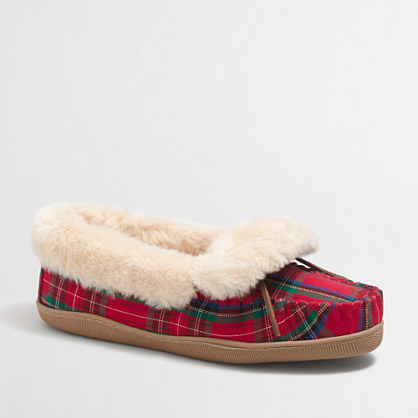 Plaid shearling foldover fireside slippers