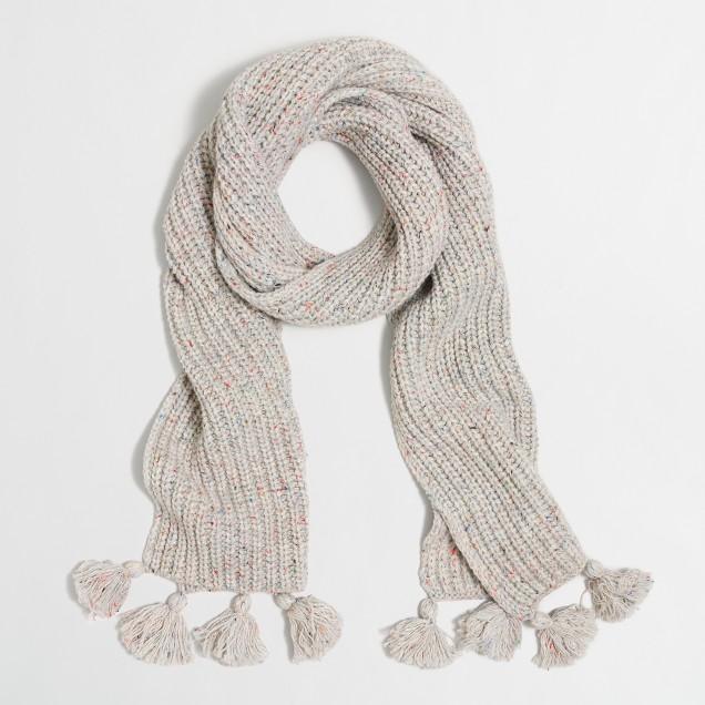 Flecked tassel scarf