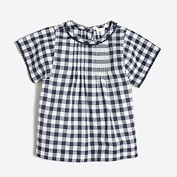 Girls' short-sleeve gingham pintuck top