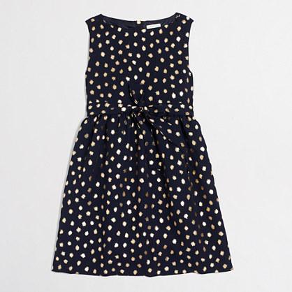 Girls' gold foil dot dress