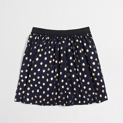 Girls' gold foil dot skirt