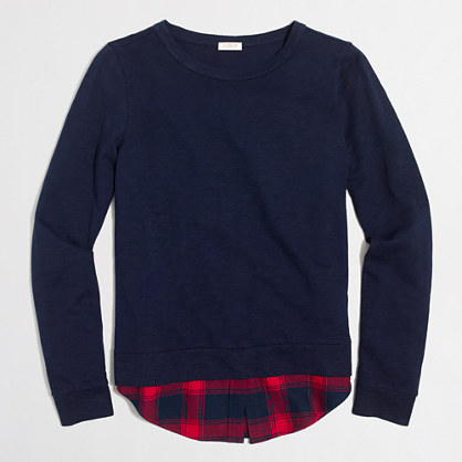 Shirttail-hem sweatshirt