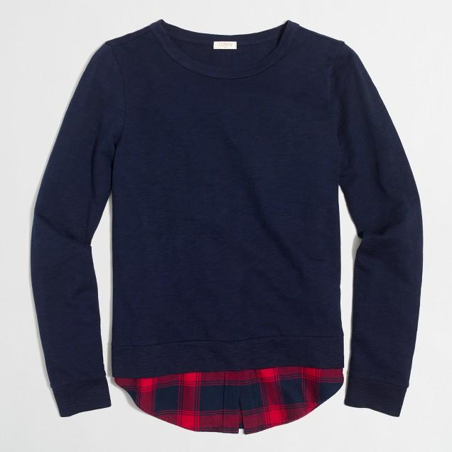 Shirttail-hem sweatshirt