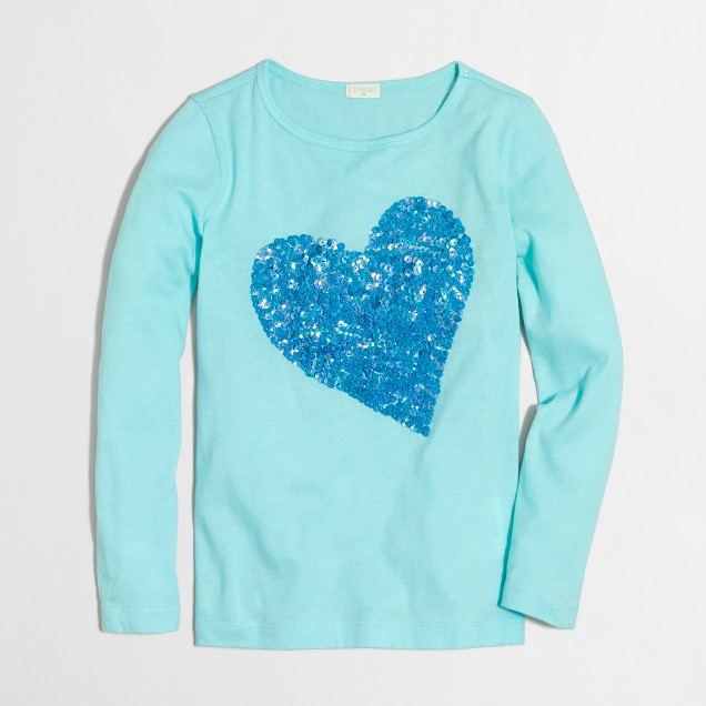 Girls 39 long sleeve sequin heart keepsake t shirt for Girls sequin t shirt