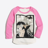 Girls' long-sleeve girl in Paris selfie keepsake T-shirt