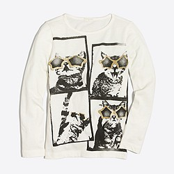 Girls' long-sleeve cat selfie keepsake T-shirt