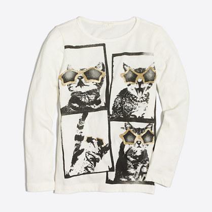 Girls' long-sleeve cat selfie keepsake T-shirt