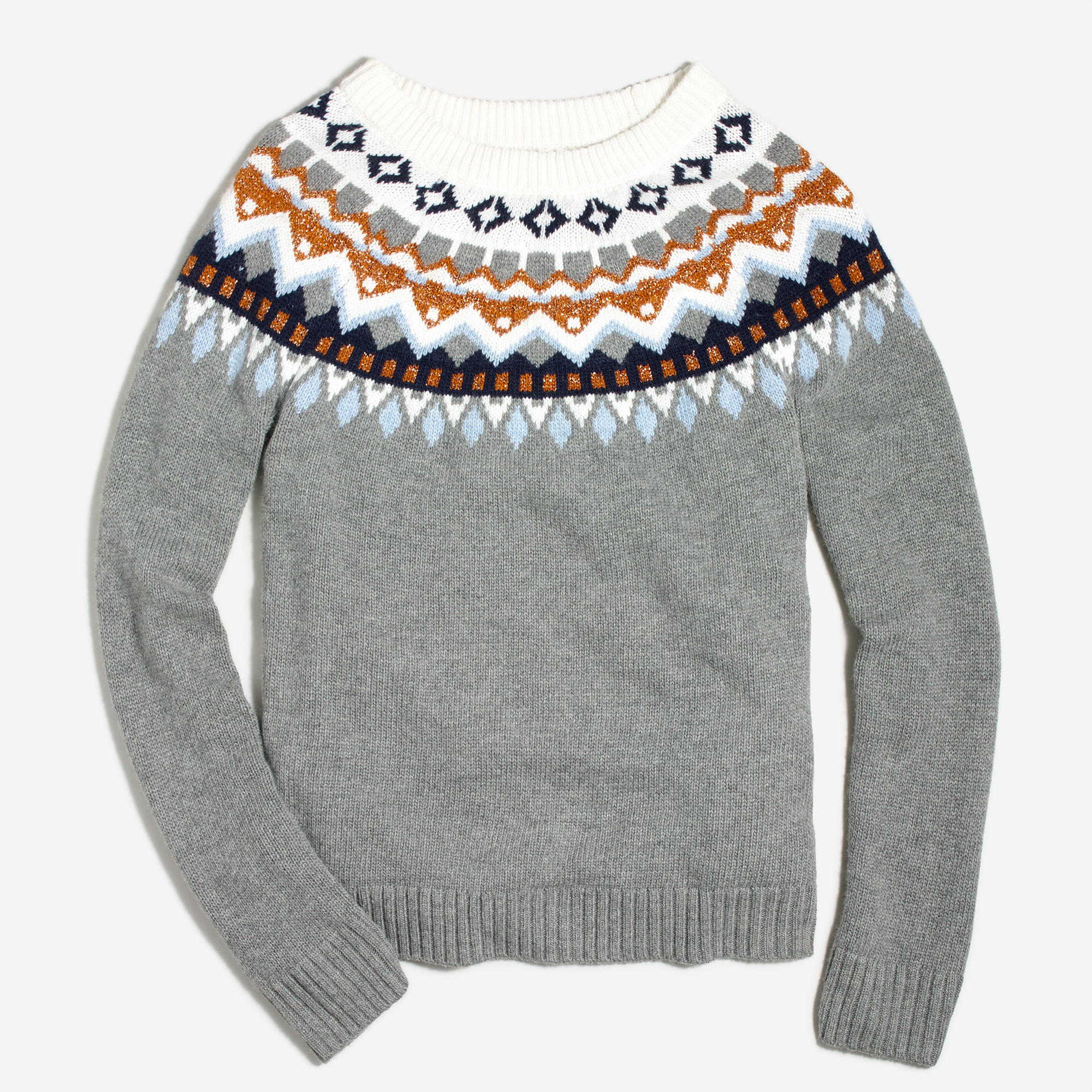 metallic fair isle sweater factorywomen pullovers factory. Black Bedroom Furniture Sets. Home Design Ideas