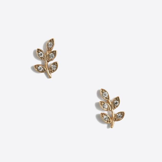Pavé leaf stud earrings