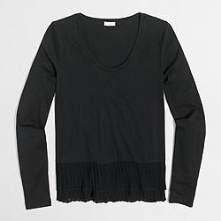 Pleated-hem T-shirt