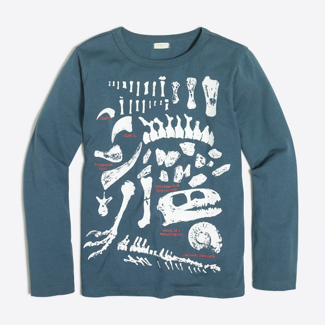 Boys' long-sleeve glow-in-the-dark paleontologist storybook T-shirt