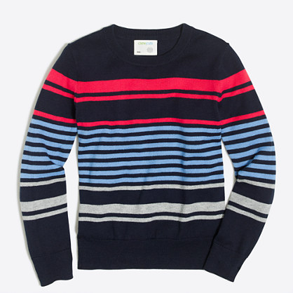 Boys' cotton mixed-stripe crewneck sweater