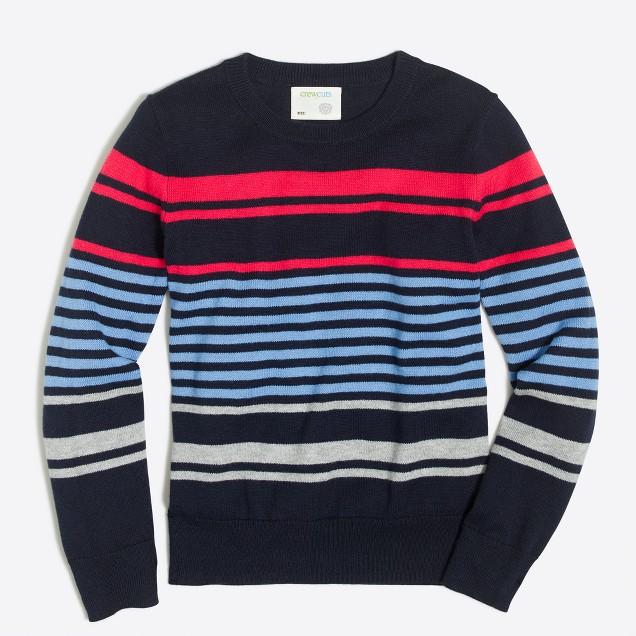 Boys' cotton mixed-stripe crewneck sweater