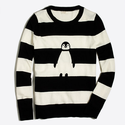 Striped intarsia penguin Teddie sweater