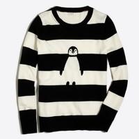 Striped intarsia penguin Teddie sweater