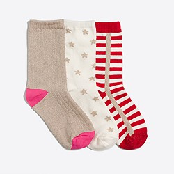 Girls' holiday stars socks three-pack