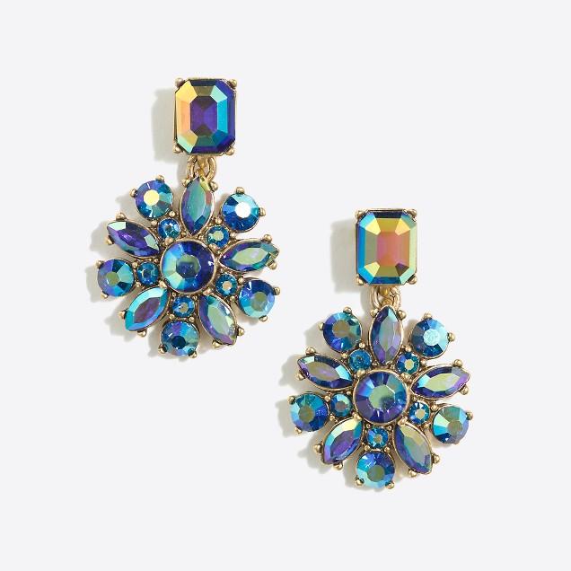 Crystal cluster dangle earrings