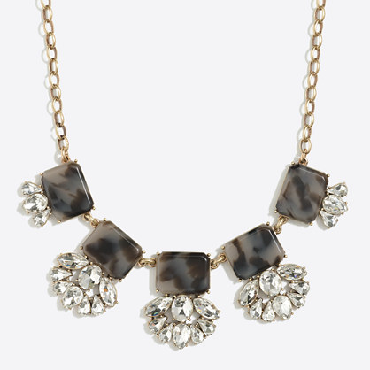 Crystal tortoise fan necklace