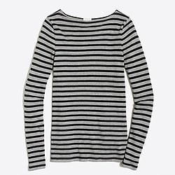 Long-sleeve striped boatneck shirt