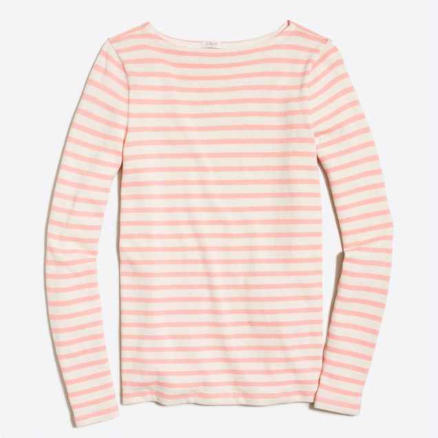 Long-sleeve striped boatneck shirt
