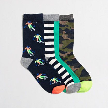 Boys' camo skier socks three-pack