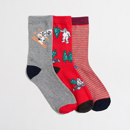 Boys' yeti driving socks three-pack