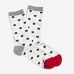 Holiday bow trouser socks