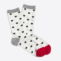 Holiday bow trouser socks