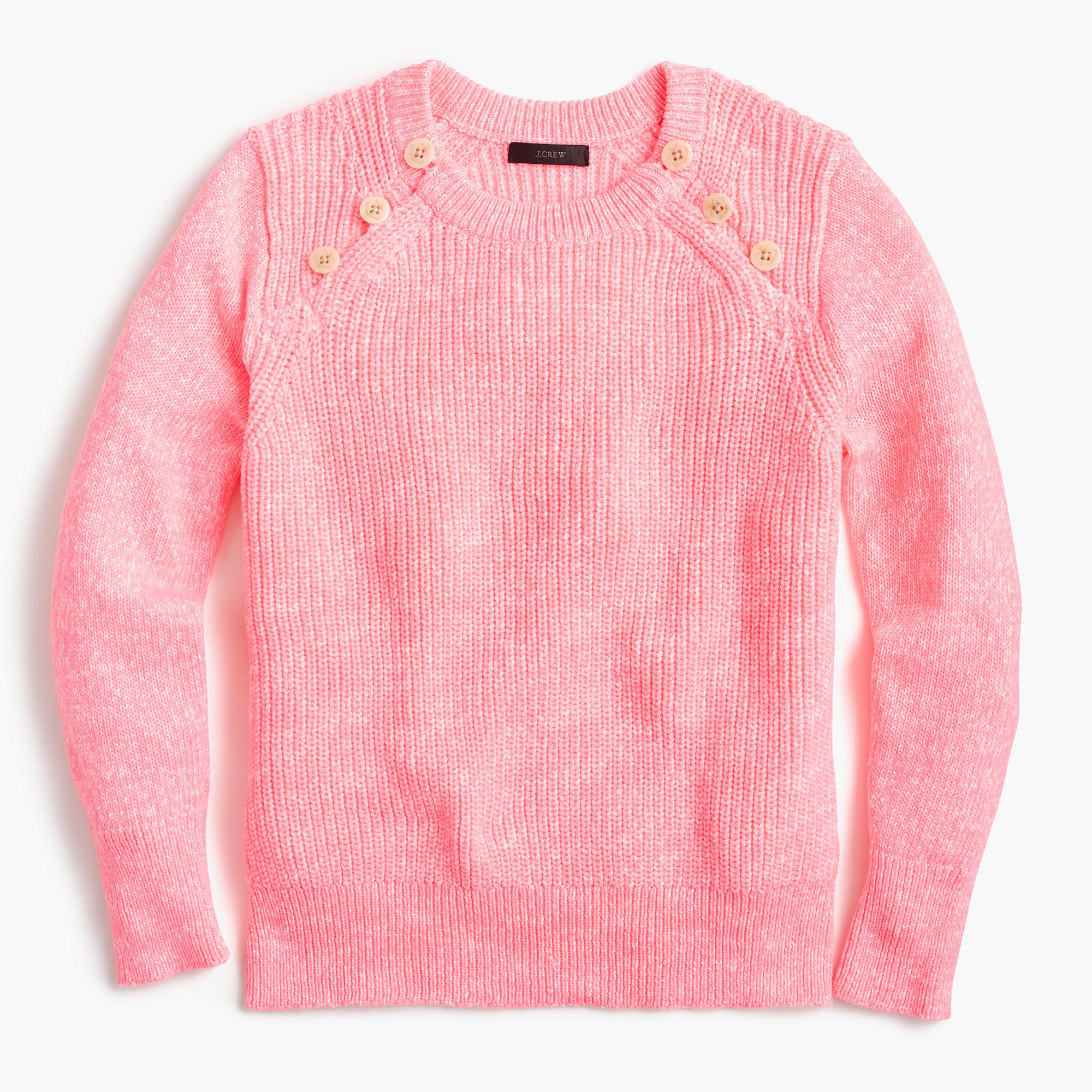 Textured Cotton Sweater With Anchor Buttons In Variegated Pink ...